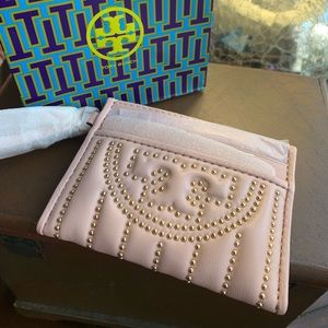 Authentic Tory Burch leather studs mini card case